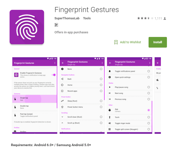 Enable fingerprint gesture on android phone