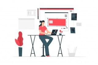 Designer girl concept illustration Free Vector
