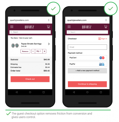 Example of guest checkout option