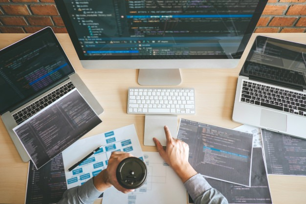 Professional developer programmer working a software website design and coding technology, writing codes and database in company office, global cyber connection technology Premium Photo