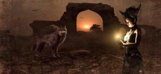 Fantasy, Archway, Wolf, Mage, Conjure, Sun, Mood, Ruin