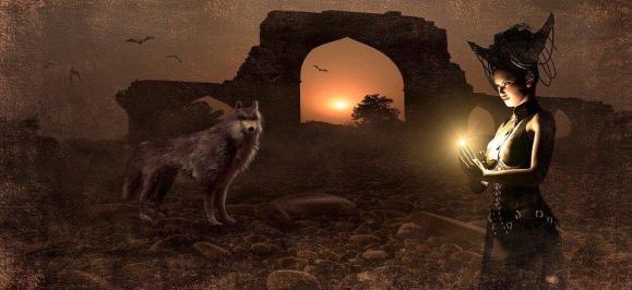 Fantasy, Archway, Wolf, Mage, Conjure, Sun, Mood, Ruin