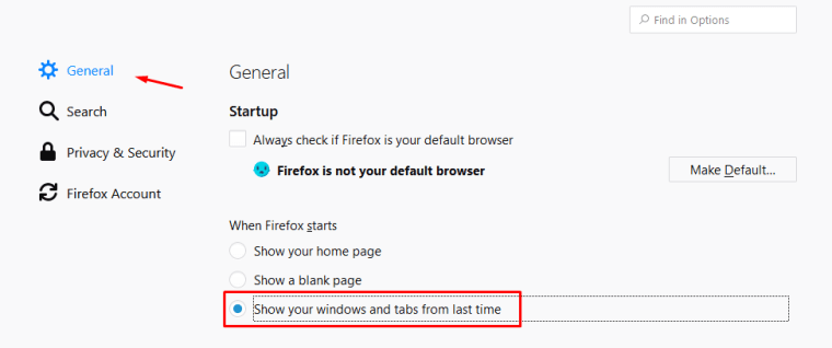 restore previously opened tabs