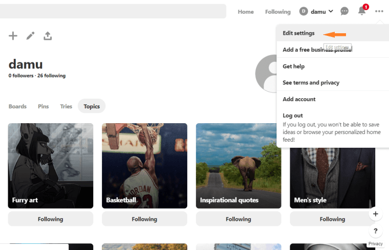 Edit Settings - Pinterest Privacy Settings