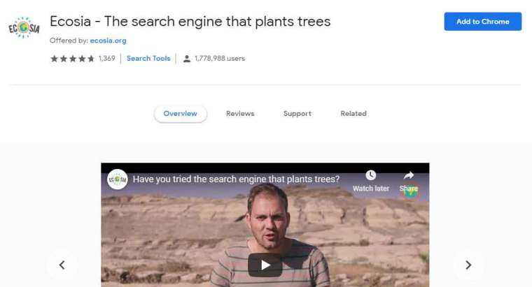 Ecosia - Best Google Chrome Extensions For Searching