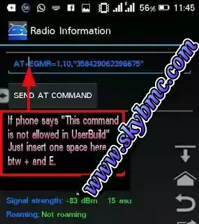 Android AT command settings