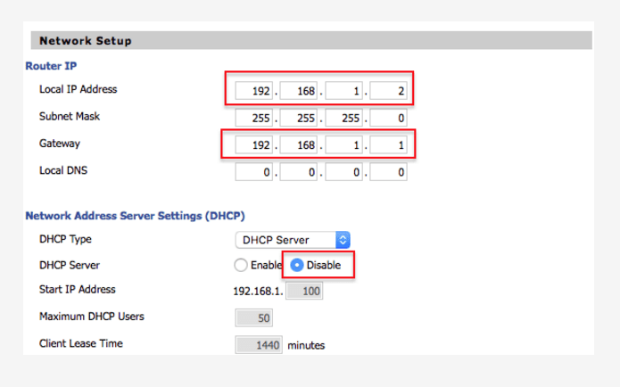 Router local Network settings