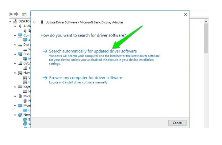 Search automatically for updated driver software on windows 10