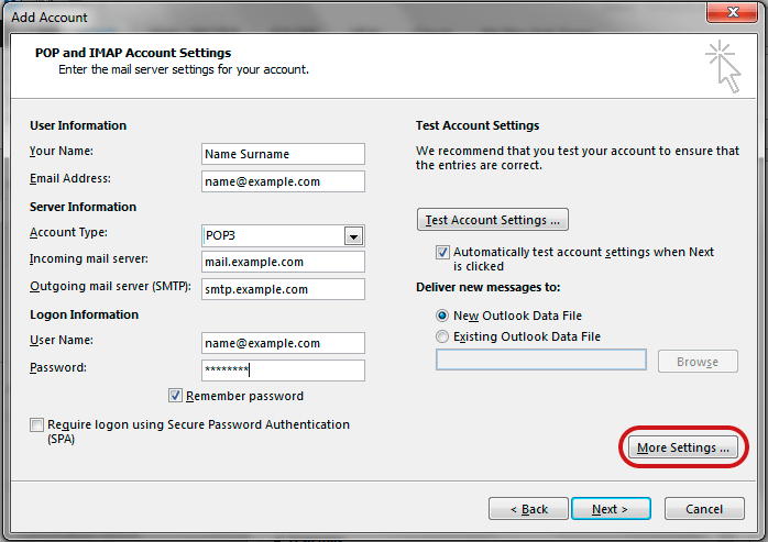 POP and IMAP Account Settings