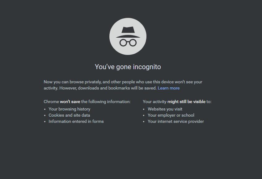 incognito Mode chrome browser