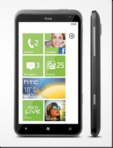 HTC_WM7.5; Primeiro celular Windows Phone 7.5 chega ao Brasil por R$ 1,8 mil; Aparelho da HTC será vendido pela Vivo; preço é de modelo pré-pago; Celular ainda tem tela sensível ao toque de 4,7 polegadas
