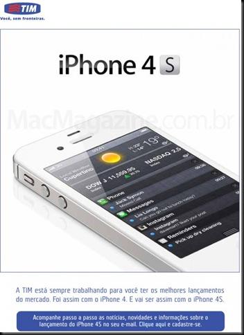tim, TIM coloca no site página para interessados no iPhone 4S, lançamento, smartphone, operadora de telefonia movel, apple, iPnoe 4S