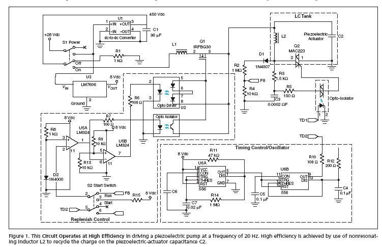 Compact, Efficient Drive Circuit for a Piezoelectric Pump
