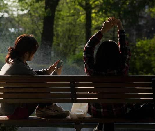 bench people smart phone