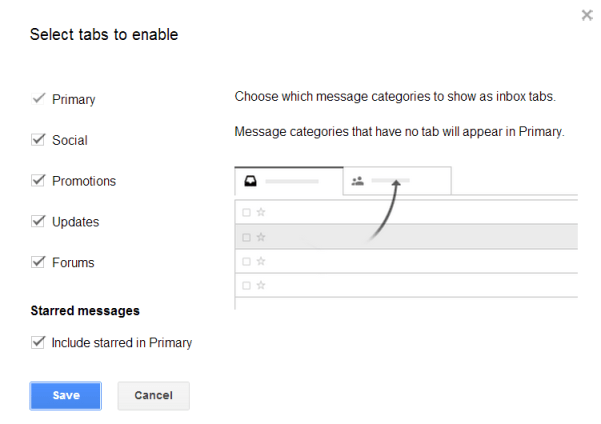 Gmail tabs configuration step 2