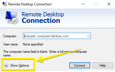 Remote Desktop Connection- show option