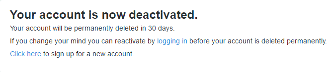 your twitter is now deactivated