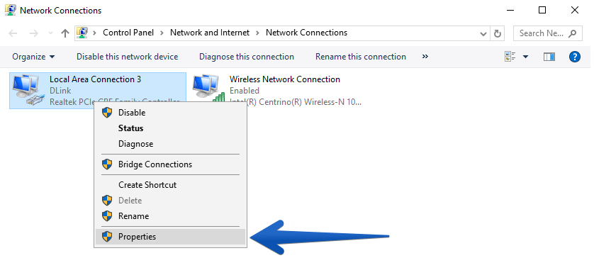 network connection properties