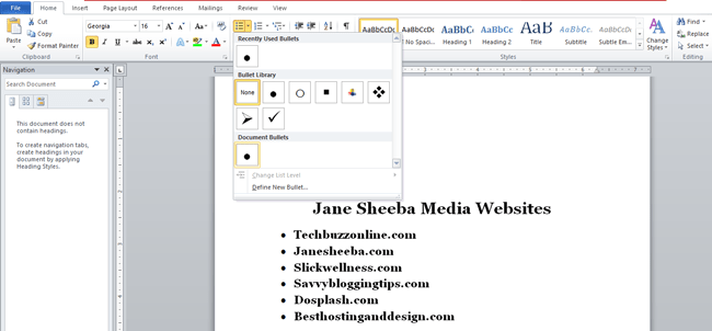 Creating a printable checklist in Word-bulleting