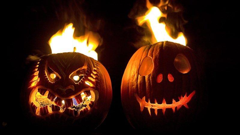 Pumpkin Face on Fire
