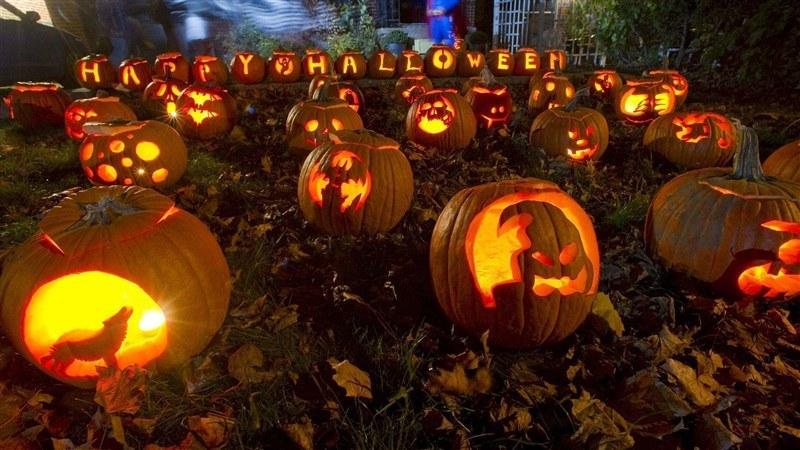 Happy Halloween Carved in Pumpkins
