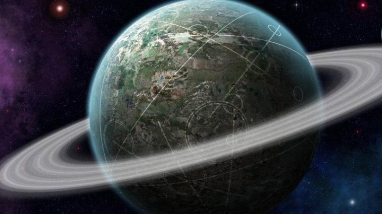 Planet with Ring in Space