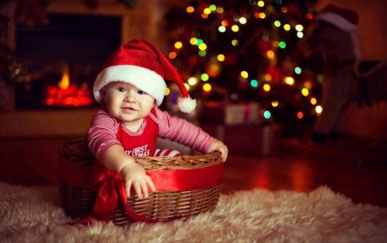 Cute Baby Wearing Christmas Cap