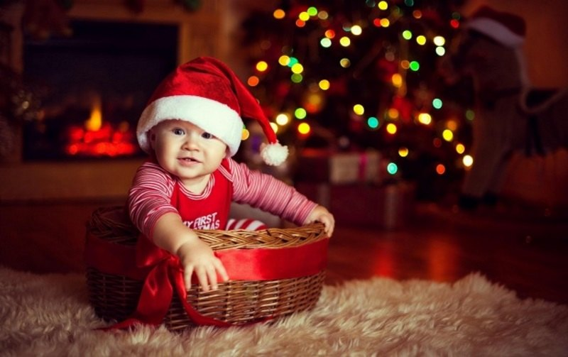 Cute Baby Wearing Christmas Cap