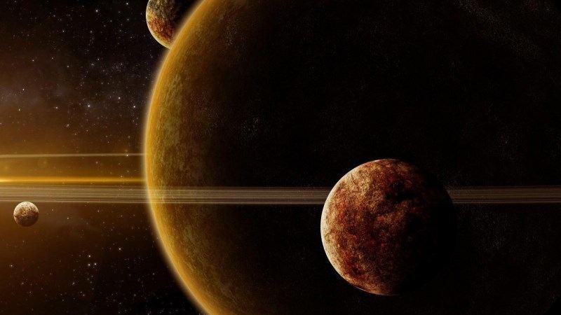 Galaxy Planet Light Stars Rays