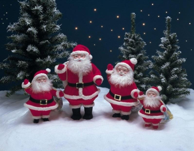 Christmas Santa with Snowy Tree Wallpaper