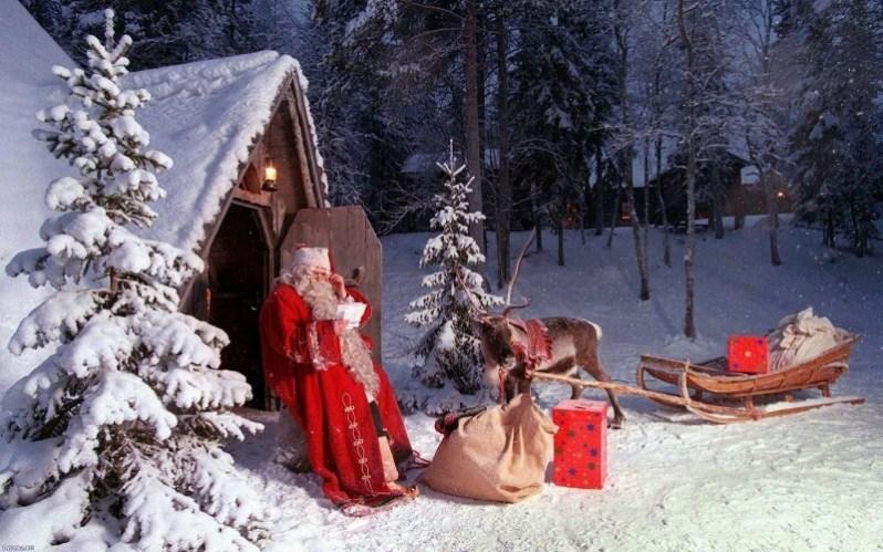 Christmas Santa with Reindeer Sleigh