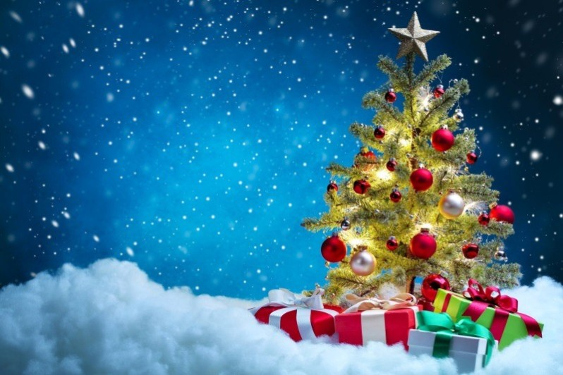 Christmas Tree with Gift and Ornaments