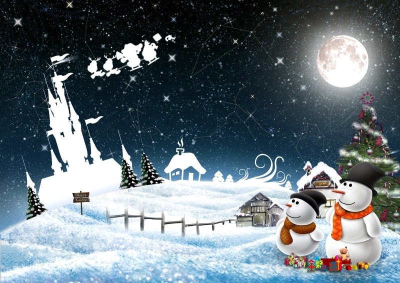 New Year Snowmen Night Greeting Christmas