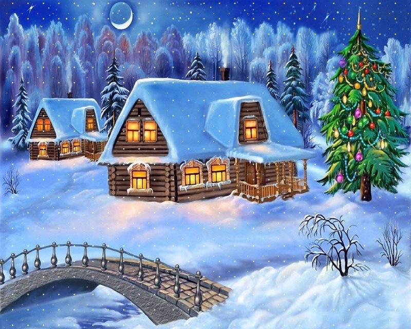 Christmas House Snow Winter with Bridge
