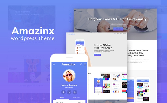 Amazinx - Mobile App Responsive One Page WordPress Theme