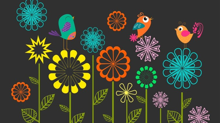 30 colorful vector flowers birds