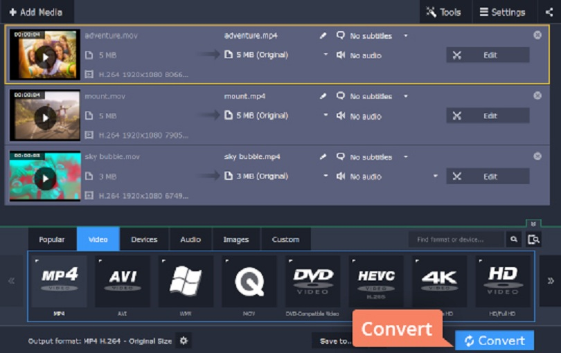 Converting MOV to MP4 Using Movavi Video  Converter