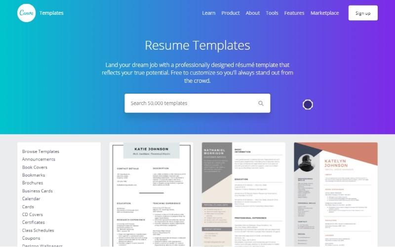 1 canva resume templates