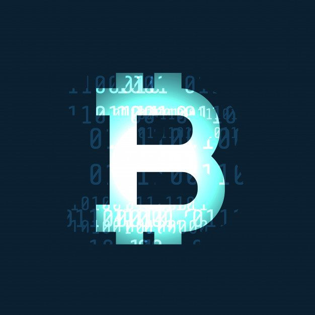 2 glowing bitcoin cryptocurrency symbol on dark background
