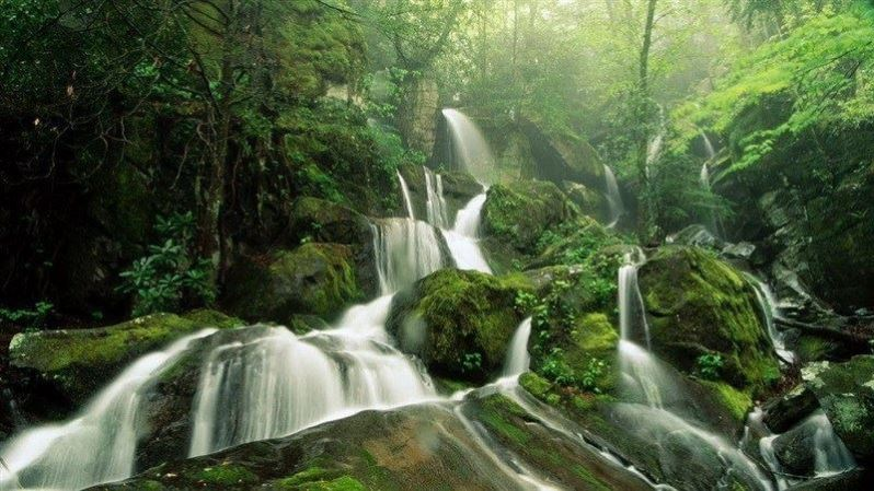 Nature Mountain Waterfall Wallpaper