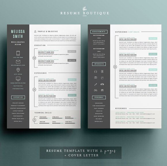 29 iconic resume template 4 pages pack