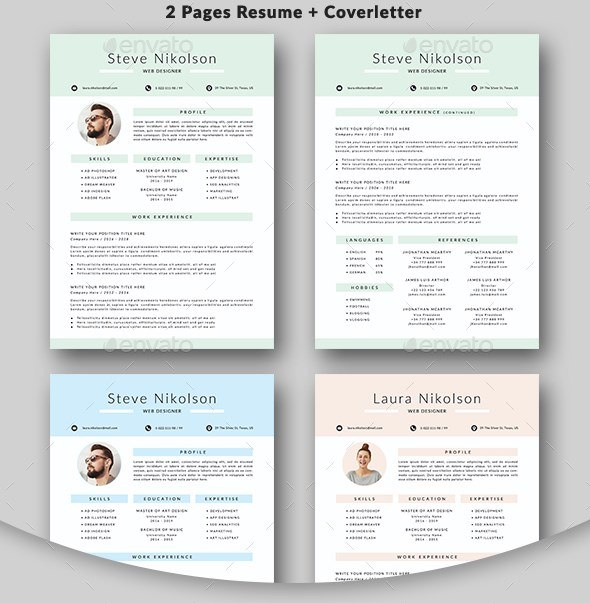 3 2 pages resume cover and 3 colors layouts