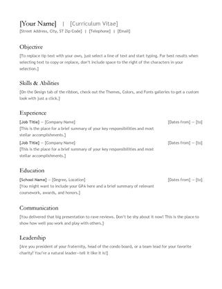 34 word cv resume