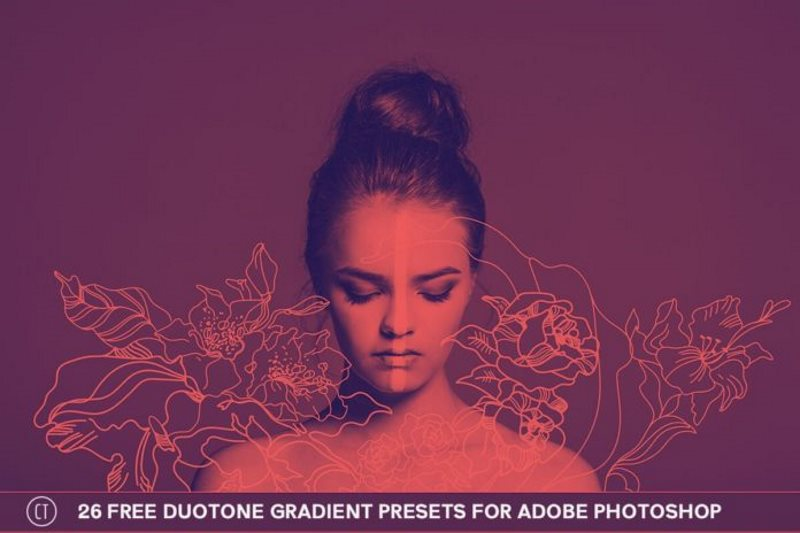 6 duotone gradient presets for adobe photoshop