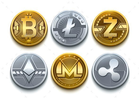 8 digital vector cryptocurrency coins icons set