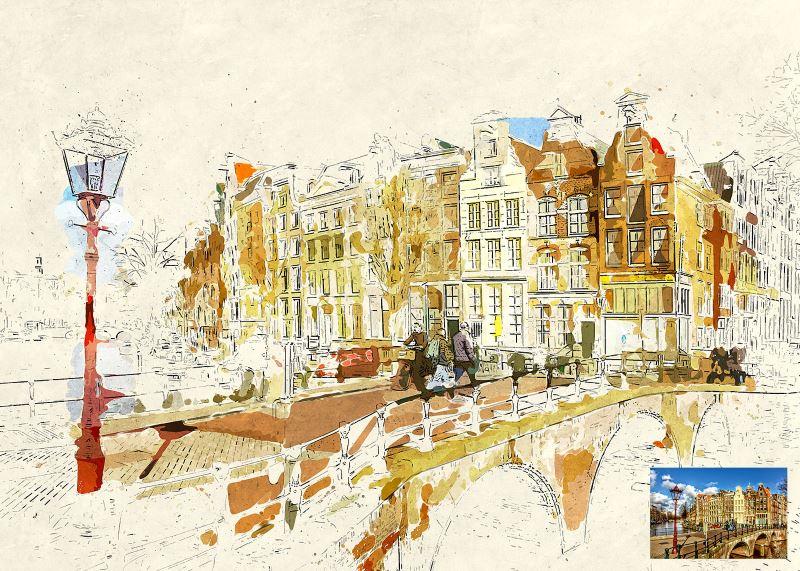 miniaturum watercolor sketch photoshop action