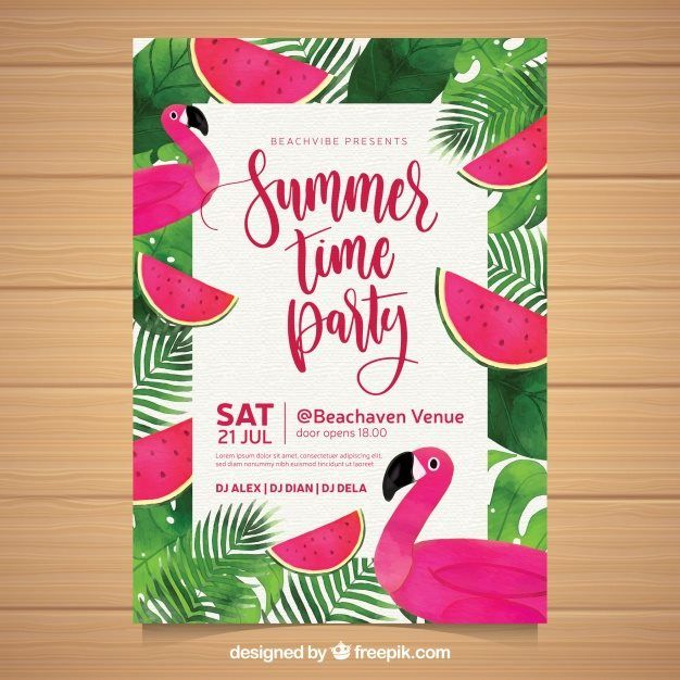 Summer Party Invitation with Watermelons and Flamingos