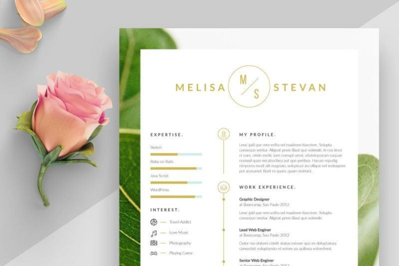 Resume Template with Free Fonts Used