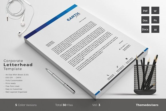 Corporate Letterhead Template with Modern Design