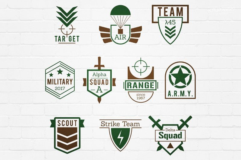 Military Army Style Badges Logos